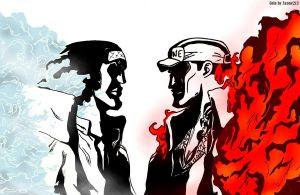 Akainu vs Aokiji