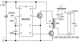 Питание лампы дневного света от 12 вольт, схема преобразователя