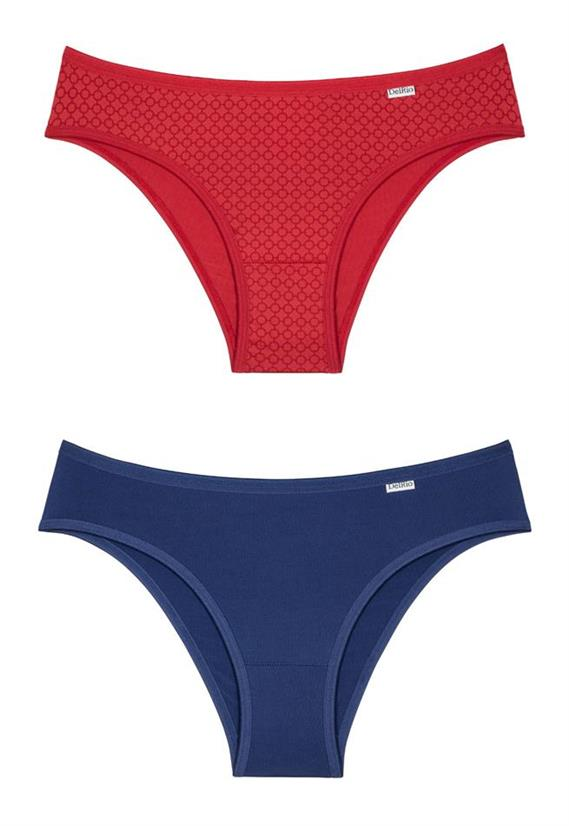 d75946313 Para as mulheres práticas esse kit de calcinha é ideal. São duas peças, uma  cereja e outra marinho feitas em microfibra.