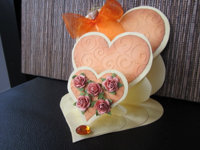 Marvelous Card Making Paradise Part - 2: The Template For This Lovely Romantic Card Came From Cardmaking Paradise  (see Link On My Sidebar) It Is A Triple Heart Easel Card, And I Have Edged  The ...