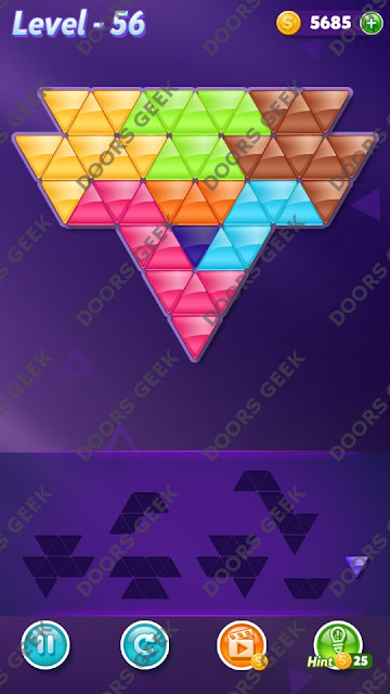 Block! Triangle Puzzle 7 Mania Level 56 Solution, Cheats, Walkthrough for Android, iPhone, iPad and iPod
