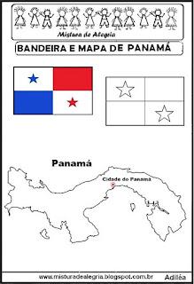 Bandeira e mapa do Panamá