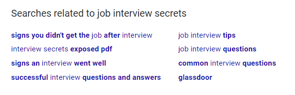 job interview secrets keywords