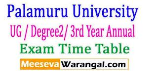 Palamuru University UG / Degree2/ 3rd Year Annual Exam Time Table 2017
