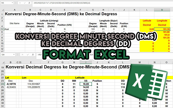 Cara Konversi Degree Minute Second (DMS) ke Decimal Degress (DD) - Sebaliknya format Excel