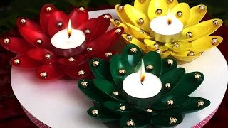DIY Diwali Home Decoration Ideas : How to Decorate Diwali Diyas from Plastic Spoons? Christmas Decor