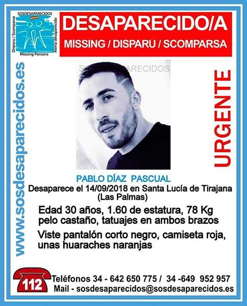 Pablo Díaz Pascual, hombre desaparecido en Santa Lucía de Tirajana, Gran Canaria