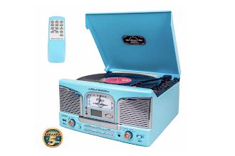 Giradischi Retrò per digitalizzare vinili o cassette, con CD e radio, a prezzo ridotto