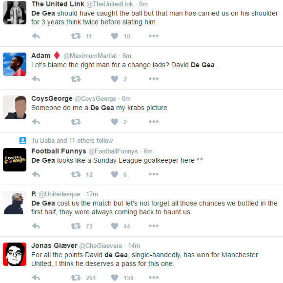 Man U fans blast De Gea after keeper's error gifted Stoke City equaizer