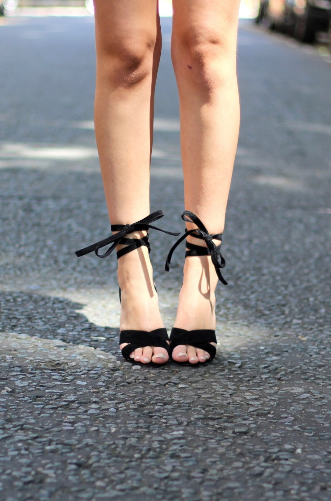 black lace up heels ego