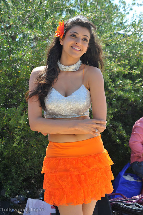 Kajal Agarwal in Orange Skirt from telugu movie Businessman