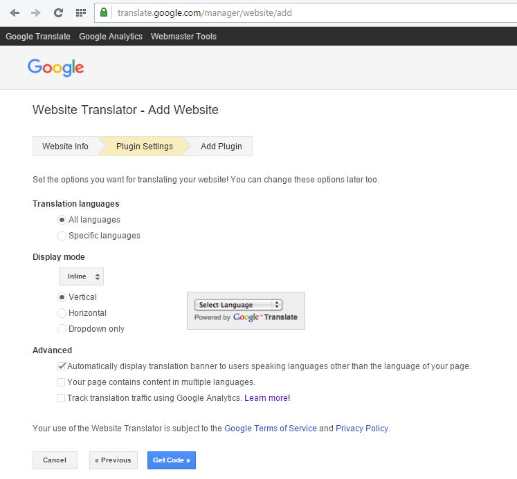 Adding Google Translate Widget and Hide Banner & Logo