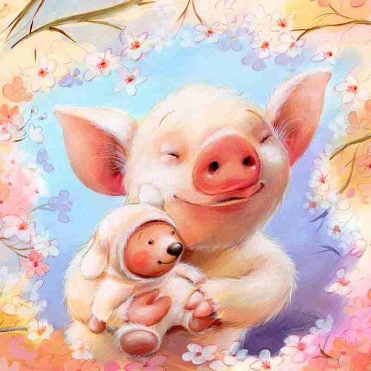 Открытка со свинкой, олененком открытки днем