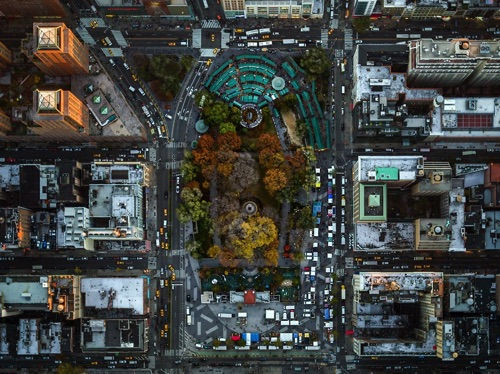 by Jeffrey Milstein - Union Square Park | chidas fotos cool stuff - aerial vision of NYC