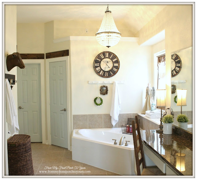 Mia Pottery Barn Chandelier-Antique farmhouse Clock-Farmhouse Master Bathroom- From My Front Porch To Yours