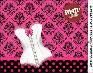 Etiqueta M&M  para Imprimir Gratis de Lencería en Rosa.
