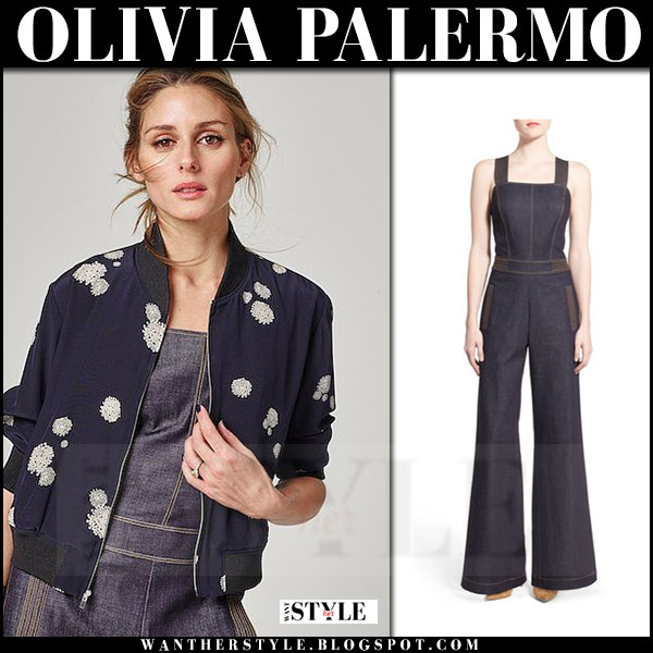 Olivia Palermo in blue bomber jacket and denim jumpsuit Chelsea28 spring 2016 collection