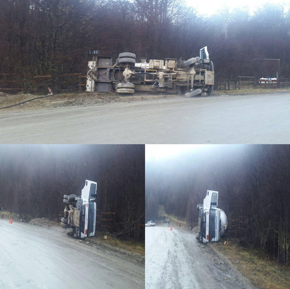 Camion de Sartini volco en la ruta J