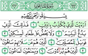 Surat  Al-Ma'un , Arab Latin Dan Terjemahan