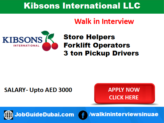 Job In Dubai for Store Helper, Forlift Operator, Driver and Retail in Al aweer