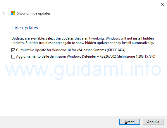 Show or hide update selezioinare aggiornamenti Windows 10 da bloccare