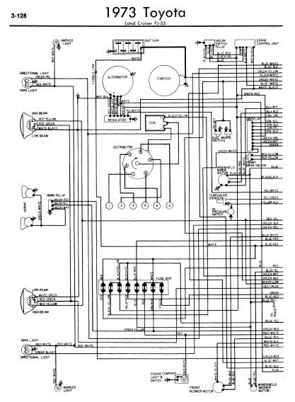 repairmanuals: Toyota Land Cruiser FJ55 1973 Wiring Diagrams
