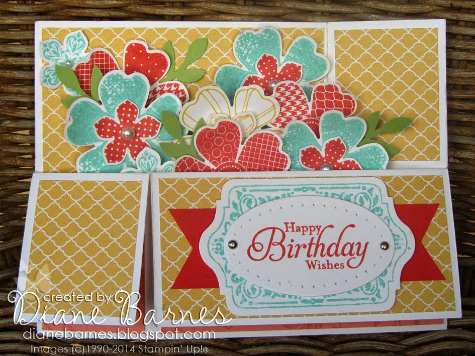 colour me happy flower shop long card in a box with template