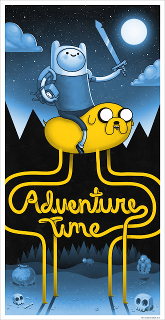 Mondo x Cartoon Network Adventure Time Blue Variant Screen Print by Mike Mitchell