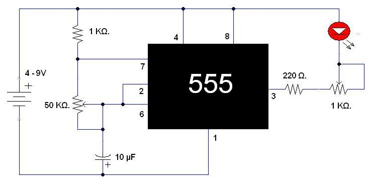 Circuito Integrado 555 : Proyecto i luz intermitente controlable