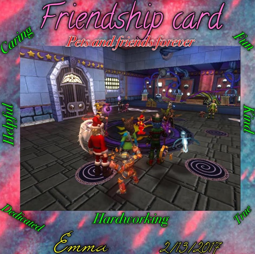 Paige's Page: Friendship Cards - Wizard101 Winners