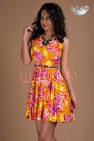 Rochie imprimeu floral galben portocaliu roz (Tiffani)