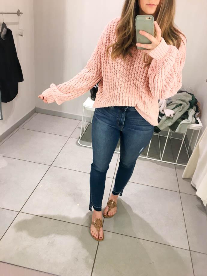 powder pink h&m loose knit sweater, fall outfit 2017, amanda sumner, the girlish blog, girl(ish), sc fashion blogger