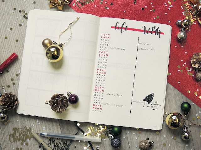 bullet journal monthly spread inspiration blogmas glitterisblack