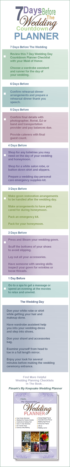 7 Days Before The Wedding Countdown Planner