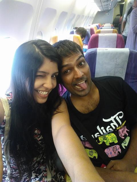 Crazy Couple inside the plane
