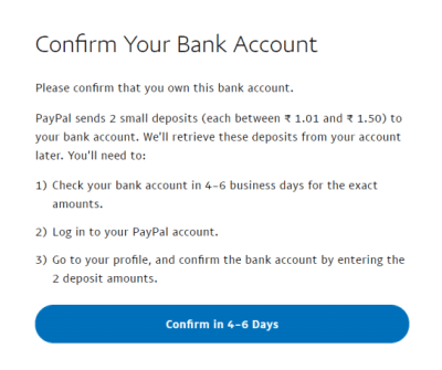 Step 9 Add bank details to link with PayPal