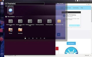 frostwire app icon shown in Ubuntu search glass