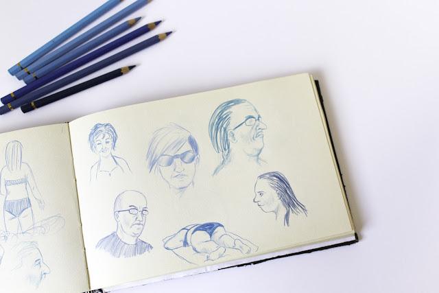 bocetos, retrato, dibujo del natural, apuntes, rostros, personas