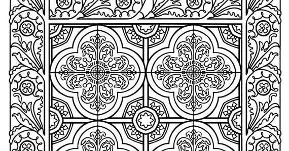 Coloring Page World: Floral Tile (Portrait