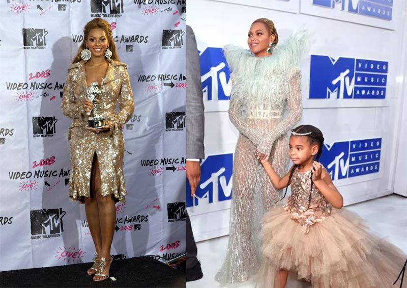 Beyonce at 2003 VMAs vs Beyonce at 2016 VMAs