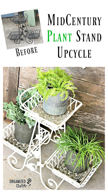 Upcycled Rummage Sale Plant Stand #midcentury #plantstand #upcycle #garagesalemakeover