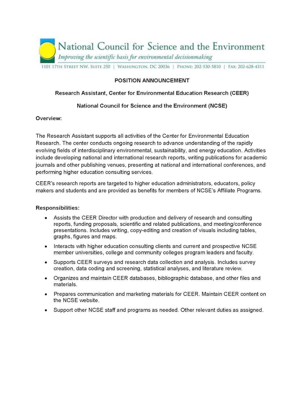 Environmental Studies Student News: Research Assistant
