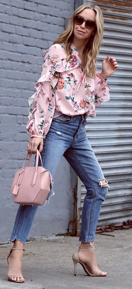 blouse + rips + bag + heels
