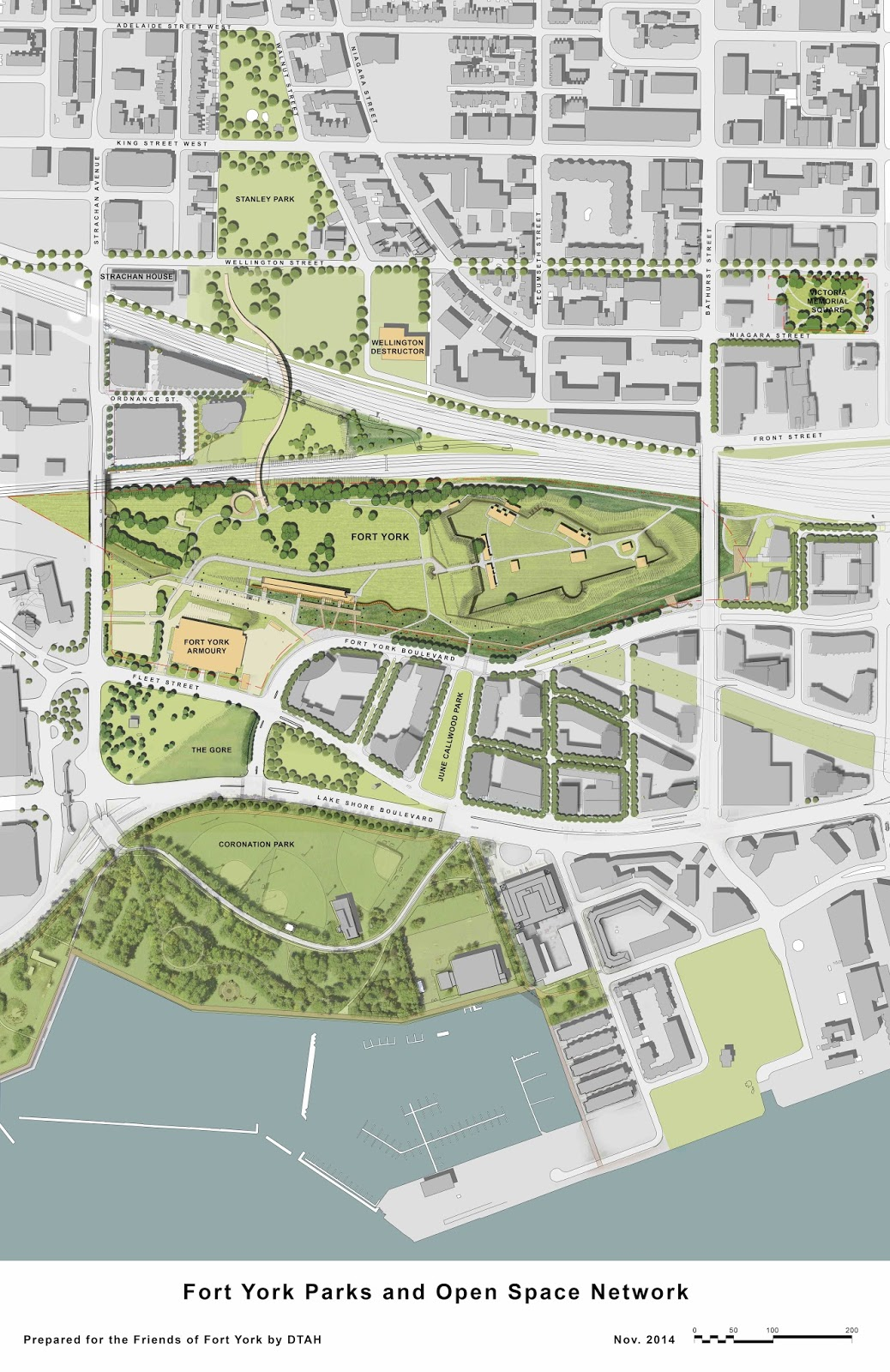 Map: 2014 Fort York Parks and Open Space Network. Prepared by DTAH for the Friends of Fort York