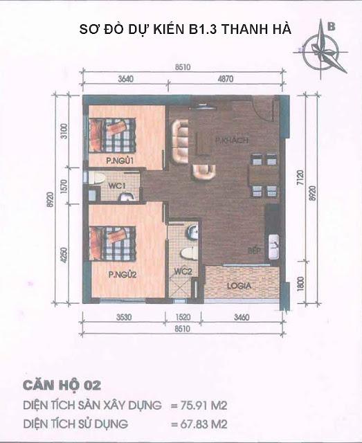 Sơ đồ thiết kế căn hộ 76m2 chung cư Thanh Hà lô B1.3 tòa HH03A