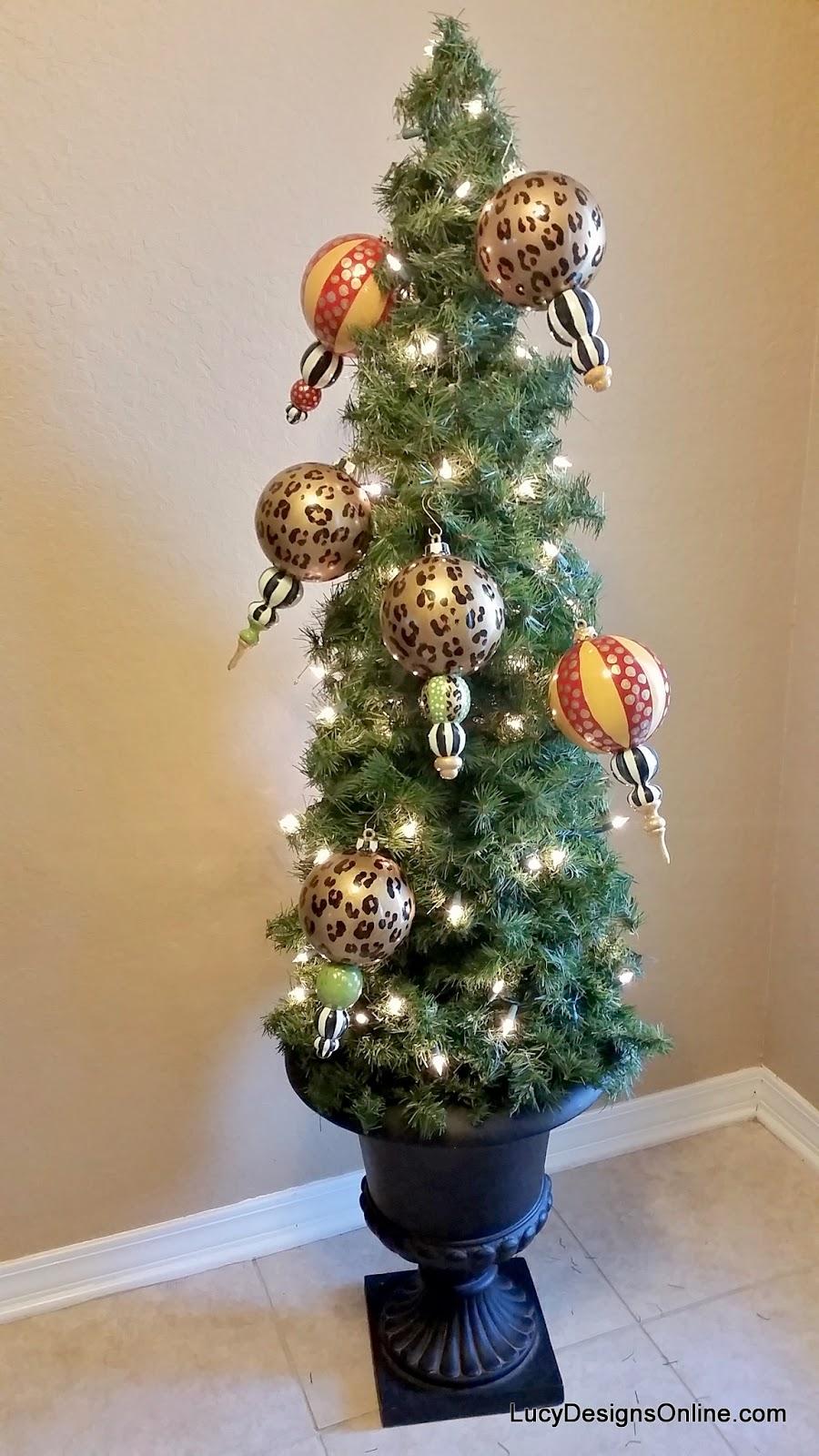 hand made animal print Christmas ornaments