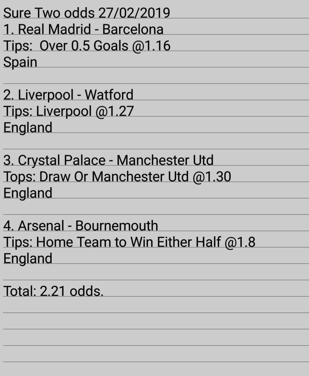 Daily Two Odds 27/02/2019 | Surest Tipz