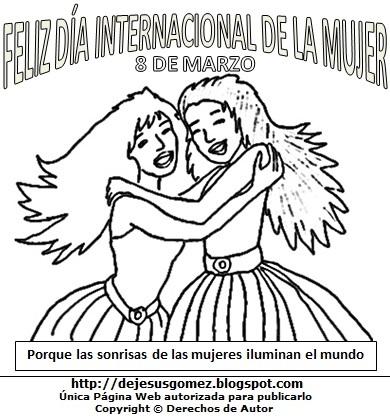 Imagen del Día Internacional de la Mujer para colorear pintar imprimir. Dibujo al Día Internacional de la Mujer de Jesus Gómez
