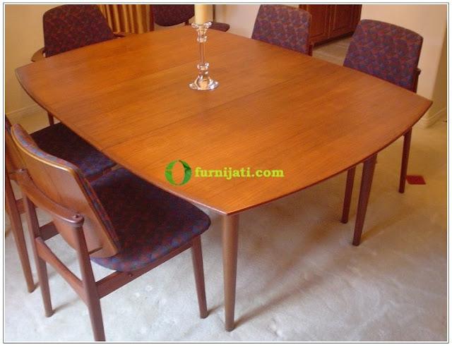 Meja makan kayu jati 6 kursi
