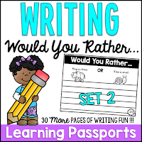 Set 2 of 30 fun elementary writing prompts and activities